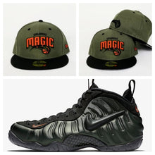 Load image into Gallery viewer, Matching New Era Orlando Magic Fitted Hat Nike Foamposite SEQUOIA Foams