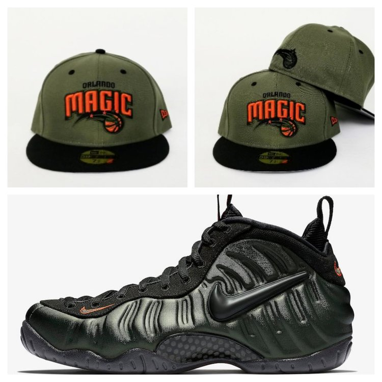 Matching New Era Orlando Magic Fitted Hat Nike Foamposite SEQUOIA Foams