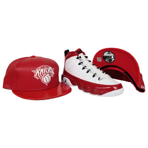 Matching New Era PU Leather New York Knicks Snapback Hat For Jordan 9 Gym Red