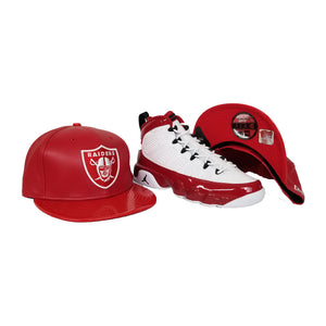 Matching New Era PU Leather Oakland Raiders Snapback Hat For Jordan 9 Gym Red
