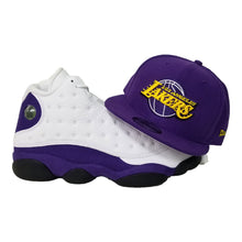 Load image into Gallery viewer, Matching New Era Purple Los Angeles Lakers Snapback for Jordan 13 Lakers