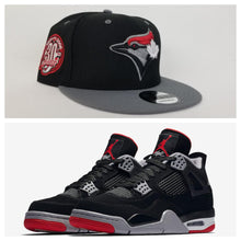 Load image into Gallery viewer, Matching New Era Toronto Blue Jays 9Fifty Snapback Hat for Jordan 4 Bred