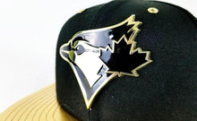 Load image into Gallery viewer, Matching New Era Toronto Blue Jays Black / Gold Metal Badge 9Fifty Snapback for Jordan 8 Black OVO