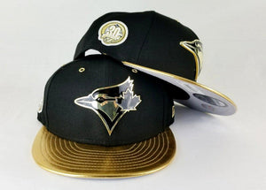 Matching New Era Toronto Blue Jays Black / Gold Metal Badge 9Fifty Snapback for Jordan 8 Black OVO