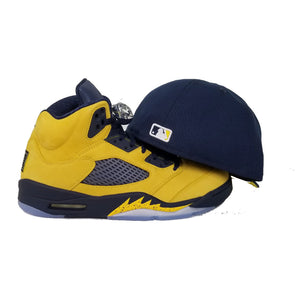 Matching New Era Toronto Blue Jays Fitted Hat For Jordan 5 Michigan