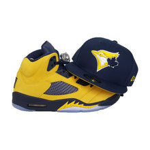 Load image into Gallery viewer, Matching New Era Toronto Blue Jays Fitted Hat For Jordan 5 Michigan