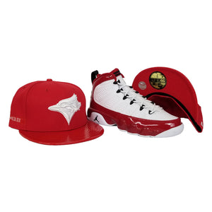 Matching New Era Toronto Blue Jays Fitted Hat For Jordan 9 Gym Red
