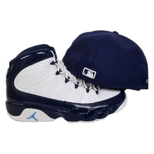 Load image into Gallery viewer, Matching New Era Toronto Blue Jays Fitted Hat for Jordan 9 Retro White / Navy