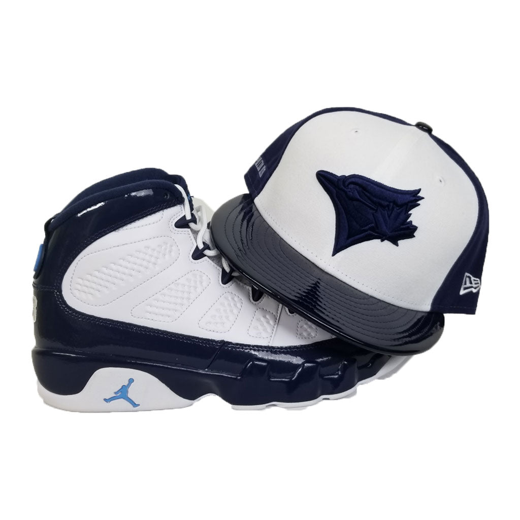 Matching New Era Toronto Blue Jays Fitted Hat for Jordan 9 Retro White / Navy