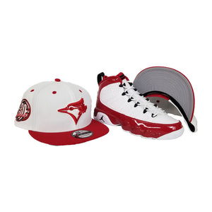 Matching New Era Toronto Blue Jays Snapback Hat For Jordan 9 Gym Red