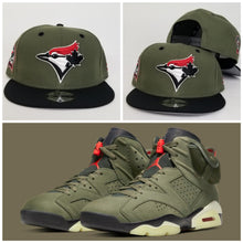 Load image into Gallery viewer, Matching New Era Toronto Blue Jays Snapback Hat for Jordan 6 Travis Scott