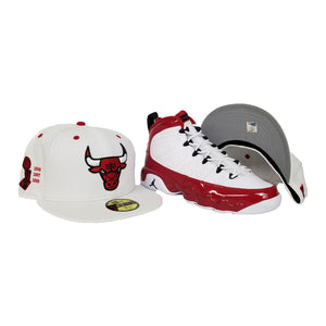Matching New Era White Chicago Bulls Fitted Hat For Jordan 9 Gym Red