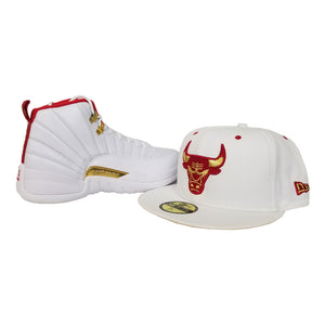 Matching New Era White Chicago Bulls Fitted Hat for Jordan 12 FIBA
