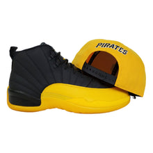 Load image into Gallery viewer, Matching New Era Yellow Pittsburgh Pirates Snapback for Jordan 12 University Gold