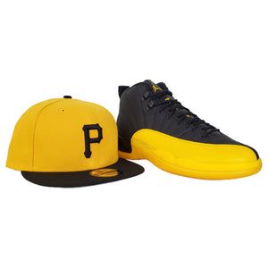 Matching New Era Yellow Pittsburgh Pirates Snapback for Jordan 12 University Gold