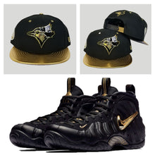 Load image into Gallery viewer, Matching Toronto Blue Jays Metal Snapback for Nike Foamposite Pro Black Metalic Gold
