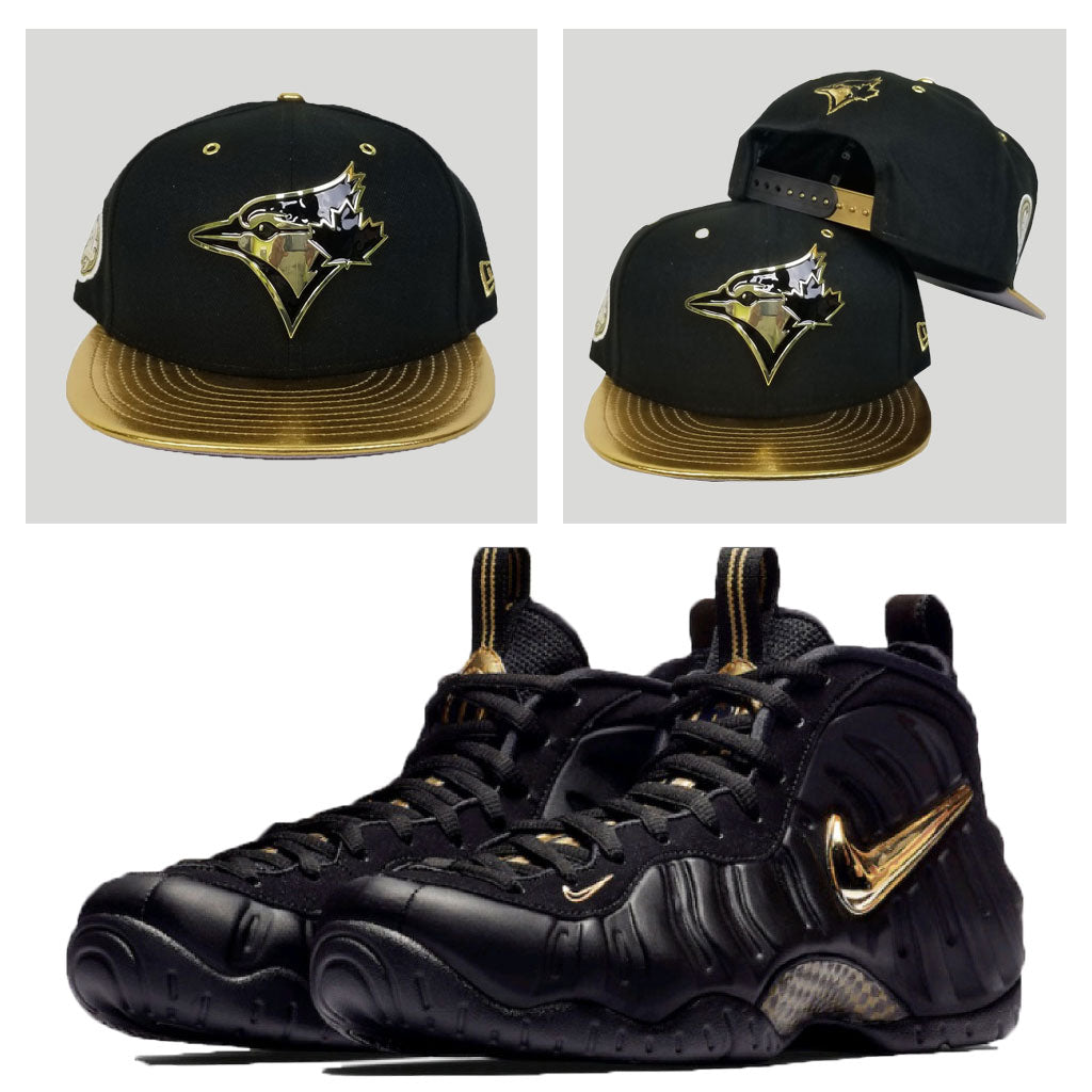 Matching Toronto Blue Jays Metal Snapback for Nike Foamposite Pro Black Metalic Gold