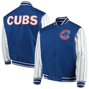 Men's Chicago Cubs JH Design Royal Blue Quilted Knit Lined Jacket