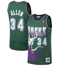 Load image into Gallery viewer, Milwaukee Bucks 1996-97 Ray Allen Mitchell & Ness Green Swingman Jersey