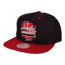 Load image into Gallery viewer, Mitchell & Ness Black Denim / Red Destructed Golden State Warriors snapback