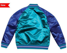 Load image into Gallery viewer, Mitchell & Ness Charlotte Teal Hornets Satin Varsity Jacket