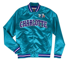 Load image into Gallery viewer, Mitchell & Ness Charlotte Hornets Teal Satin Varsity Light Jacket