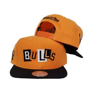 Mitchell & Ness Chicago Bulls Patch Work Orange Snapback Hat