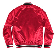 Load image into Gallery viewer, Mitchell & Ness Chicago Bulls Red Satin Varsity Light Jacket