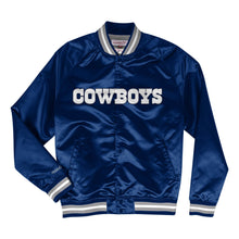 Load image into Gallery viewer, Mitchell & Ness Dallas Cowboys Navy Blue Satin Light Jacket