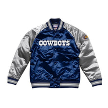 Load image into Gallery viewer, Mitchell & Ness Dallas Cowboys Navy Blue Satin Varsity Jacket