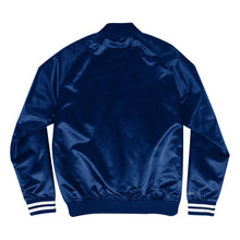 Load image into Gallery viewer, Mitchell & Ness Dallas Scrip Cowboys Navy Blue Satin Light Jacket