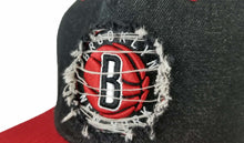Load image into Gallery viewer, Mitchell & Ness Denim Black / Red Destructed Brooklyn Nets snapback