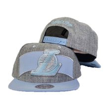 Load image into Gallery viewer, Mitchell & Ness Grey - Light Blue Los Angeles Lakers Snapback Hat
