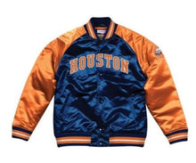 Load image into Gallery viewer, Mitchell & Ness Houston Astros Navy Blue Satin Varsity Jacket