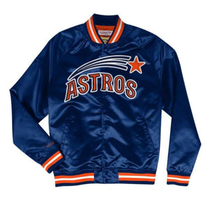 Mitchell & Ness Houston Astros Navy Blue Satin Varsity Light Jacket