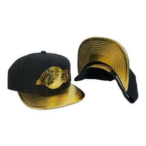 Mitchell & Ness Los Angeles Lakers Black - Gold Metal Logo Snapback