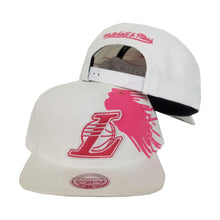 Load image into Gallery viewer, Mitchell & Ness Los Angeles Lakers White - Pink Paint Splash Snapback
