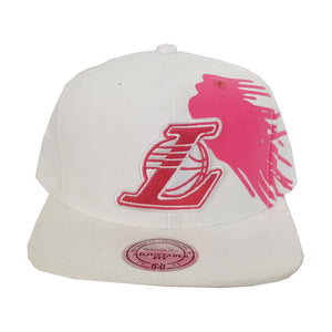 Mitchell & Ness Los Angeles Lakers White - Pink Paint Splash Snapback