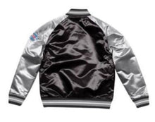Load image into Gallery viewer, Mitchell & Ness Oakland Raiders Black Satin Varsity Jacket