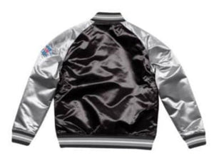 Mitchell & Ness Oakland Raiders Black Satin Varsity Jacket