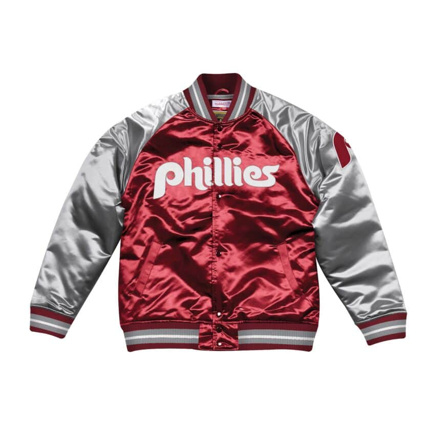 Mitchell & Ness Philadelphia Phillies Burgundy Satin Varsity Jacket