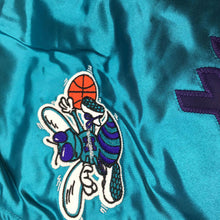 Load image into Gallery viewer, Mitchell & Ness Scrip Charlotte Hornets Teal Satin Varsity Light Jacket