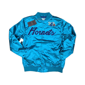 Mitchell & Ness Scrip Charlotte Hornets Teal Satin Varsity Light Jacket