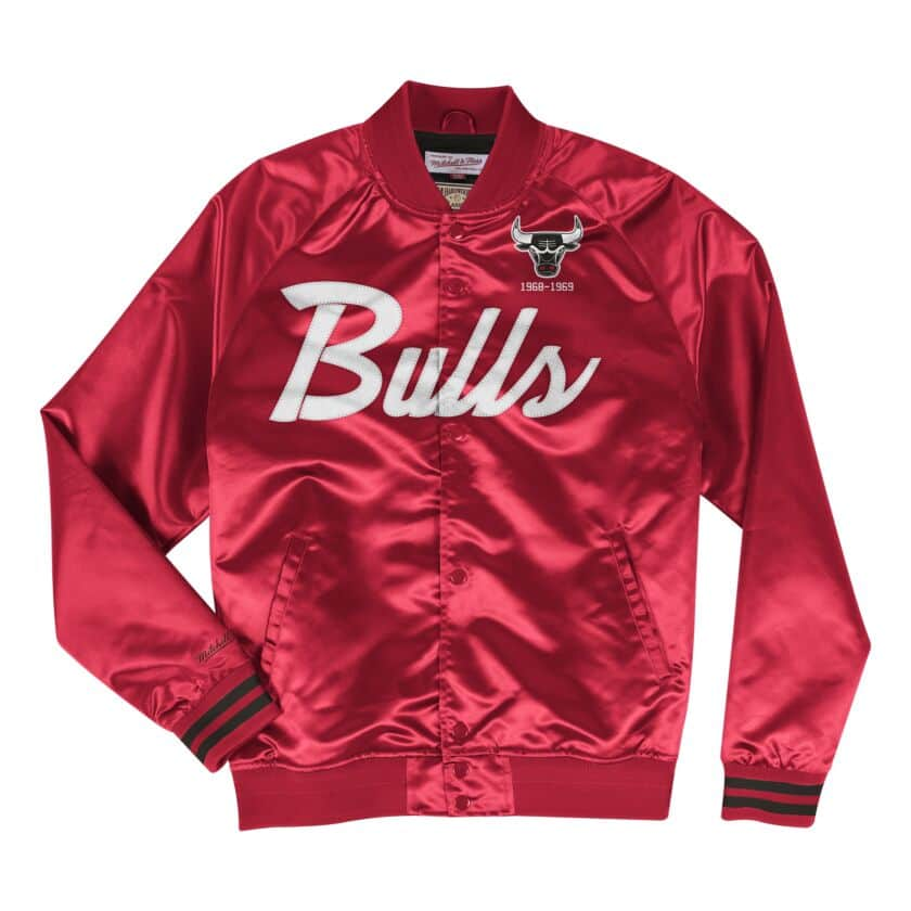 Mitchell & Ness Scrip Chicago Bulls Red Satin Varsity Light Jacket