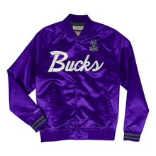 Load image into Gallery viewer, Mitchell & Ness Scrip Milwaukee Bucks Purple Satin Light Jacket