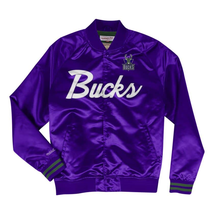 Mitchell & Ness Scrip Milwaukee Bucks Purple Satin Light Jacket