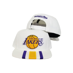 Mitchell & Ness White Los Angeles Lakers Snapback Hat