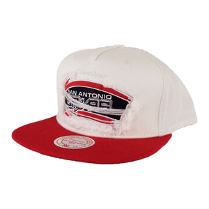 Mitchell & Ness White / Red Destructed San Antonio Spurs snapback