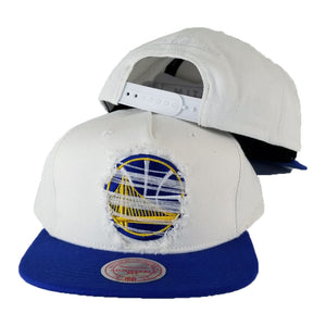Mitchell & Ness White / Royal Blue Destructed Golden State Warriors snapback