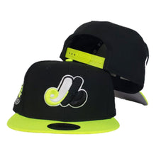 Load image into Gallery viewer, Montreal Expos Black Neon Green Cooperstown New Era 9Fifty Snapback